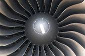 Modern plane engine turbine blades.