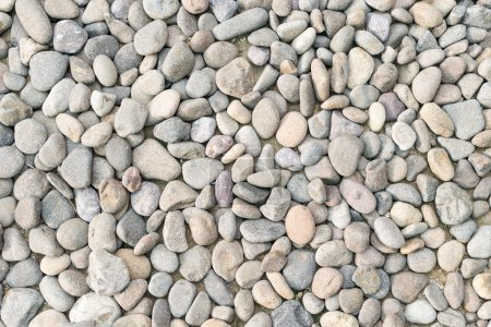 Photo pour Tas de galets comme fond naturel abstrait. Beaucoup de gravier gris et brun en vue rapprochée. Différentes textures de galets. Nature - image libre de droit