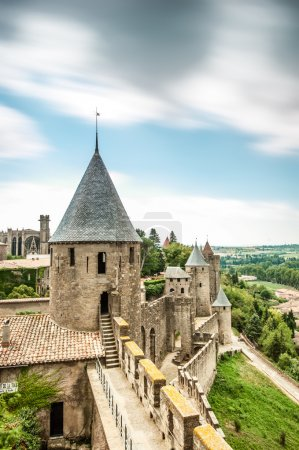 Scenic view of Carcassonne castle in France.