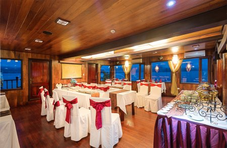 Beautiful interior design in dining room of ship.