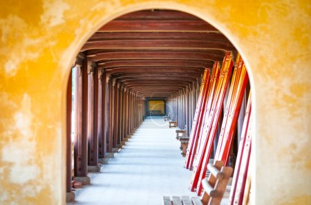 Arched hall of Hue citadel, Vietnam, Asia.