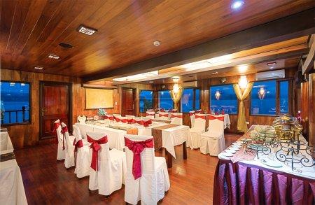 Interior design in dining room of ship
