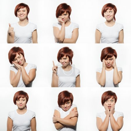 Photo for Collage of young woman face expressions composite isolated on white background - Royalty Free Image