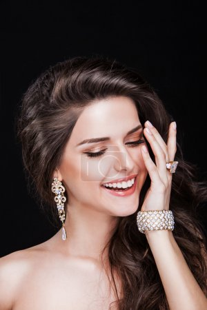 Photo for Portrait of a beautiful brunette girl with luxury accessories.Beauty with jewelry. happy fashion model - Royalty Free Image