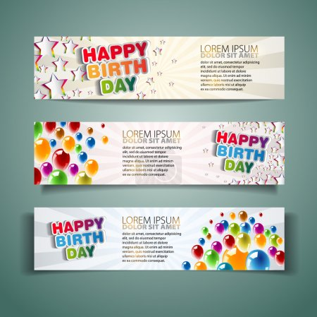 Photo for Happy Birthday Holiday banners with colorful balloons and stars - Royalty Free Image