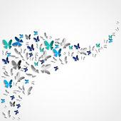 Biglietto di auguri con farfalle di carta colorata