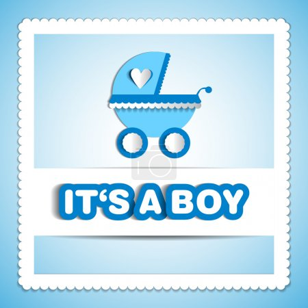 Baby card - Its a boy theme - with baby carriage