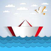 Vector paper boat sticker floating on paper water with paper bird - illustration card