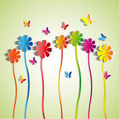 Abstract paper Flowers - paper butterfly - spring theme card - vector
