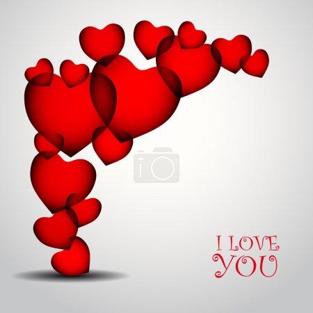 Illustration pour Heureux jour de valentines fond avec coeurs rouges - image libre de droit