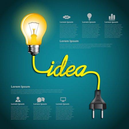 Illustration pour Idée d'ampoule créative infographie abstraite, concept d'inspiration conception moderne modèle de mise en page de flux de travail - image libre de droit