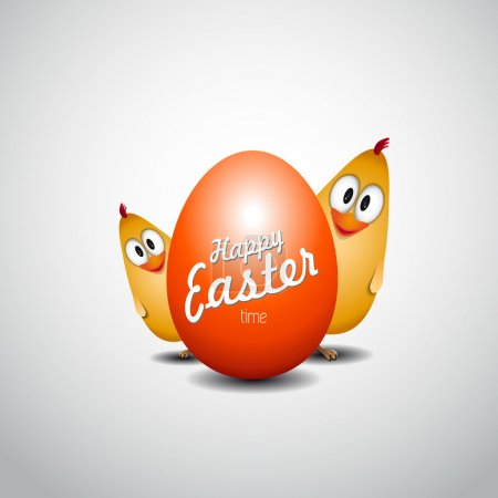 Funny Easter egg chicks, Happy easter card