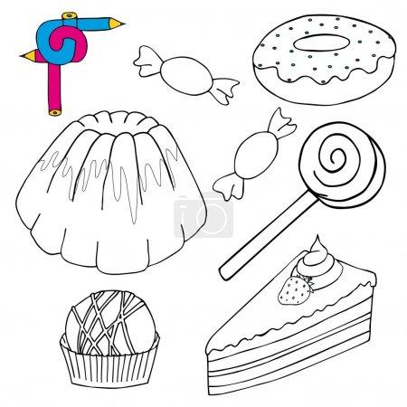 Illustration pour Coloriage collection de gâteaux image - illustration vectorielle . - image libre de droit