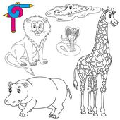 Coloring image wild animals 01 - vector illustration