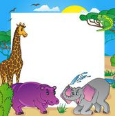 African frame with animals 02 - vector illustration