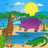 African landscape with animals 01 - vector illustration