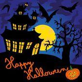 Blue spooky house 01 - vector illustration