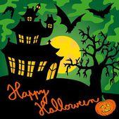Green spooky house 01 - vector illustration
