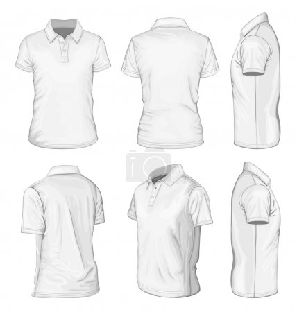 Men's white short sleeve polo-shirt