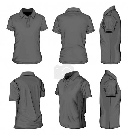 Men's black short sleeve polo-shirt