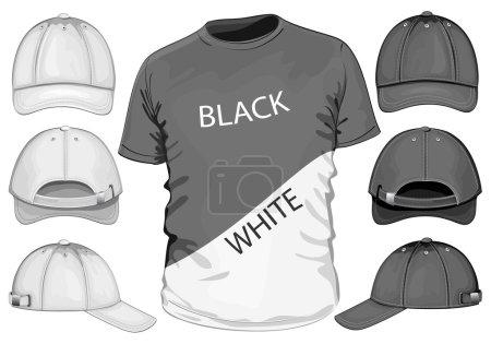 Illustration for Vector. Men's t-shirt design template & baseball cap. black & white - Royalty Free Image
