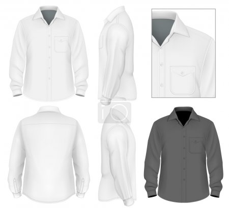 Illustration for Men's button down shirt long sleeve design template - Royalty Free Image