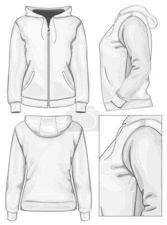 Women's hooded sweatshirt with zipper