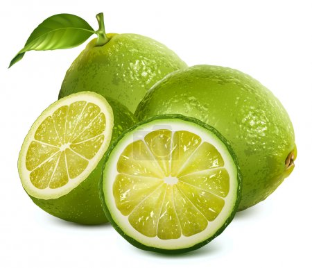Illustration for Vector illustration of fresh limes with leaves - Royalty Free Image