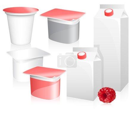 Illustration pour Vecteur série de packs de lait et l'yaourt vides avec des framboises mûres photo-réalistes - image libre de droit