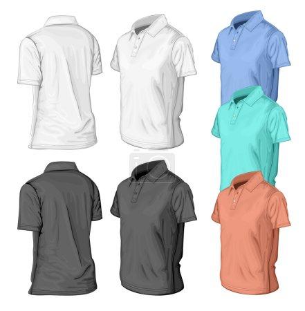 Illustration for Men's short sleeve polo-shirt design templates (half-turned views). Vector illustration. No mesh. - Royalty Free Image