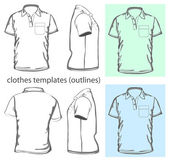 Vector Men's polo-shirt design template with pocket(front back and side view) Outline