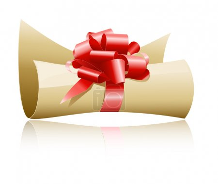 Illustration for Vector illustration. Paper scroll with red gift bow. - Royalty Free Image