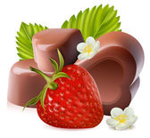 Photorealistic vector illustration Strawberry with leaves and chokolate candies