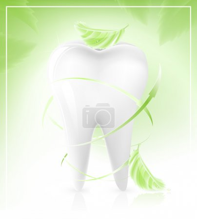 tooth with light green leaves-arrows.