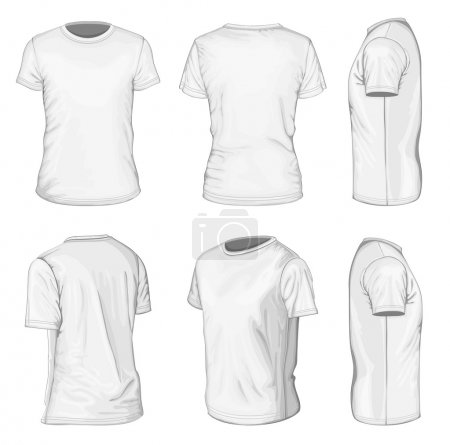 Illustration for All views men's white short sleeve t-shirt design templates (front, back, half-turned and side views). Vector illustration. No mesh. - Royalty Free Image
