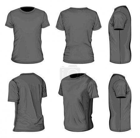 Illustration for All views men's black short sleeve t-shirt design templates (front, back, half-turned and side views). Vector illustration. No mesh. - Royalty Free Image