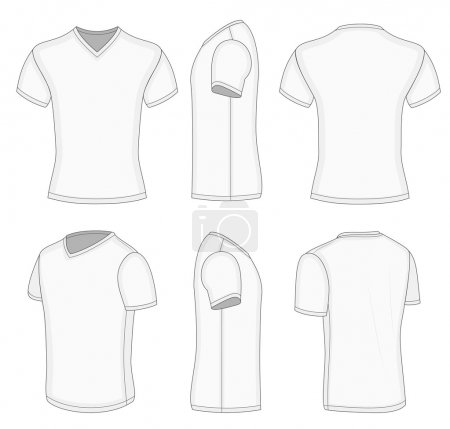 All views men's white short sleeve v-neck t-shirt.