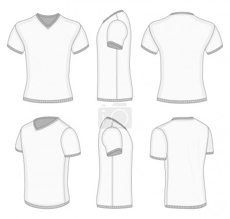 Men's white short sleeve t-shirt v-neck.