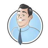 Usměvavá retro podnikatel v odznak