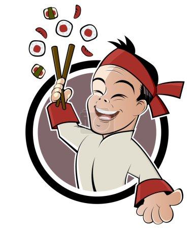 Funny sushi cartoon