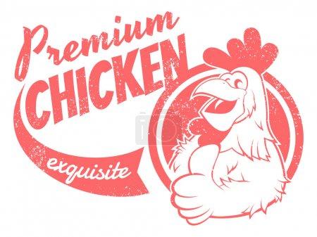 Illustration pour Panneau poulet rétro - image libre de droit