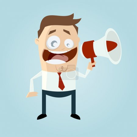 Illustration pour Homme d'affaires avec loudhailer - image libre de droit