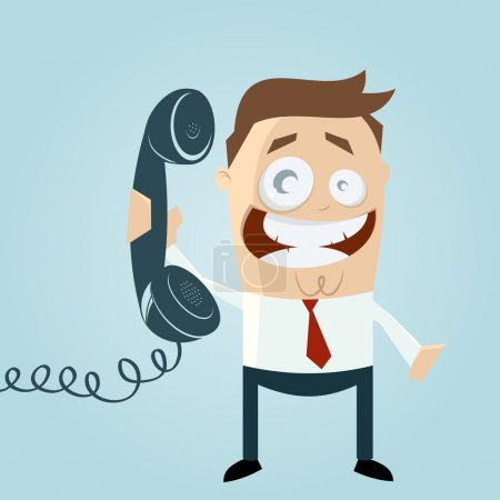 Illustration for Retro cartoon man with phone - Royalty Free Image