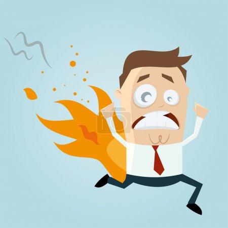Funny cartoon man is on fire