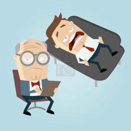 Illustration for Funny cartoon psychiatrist with patient on couch - Royalty Free Image