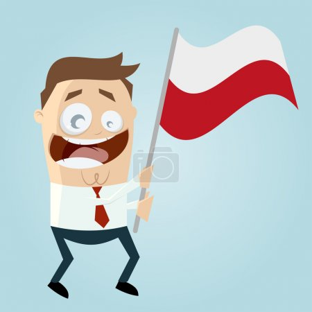Happy cartoon man with polish flag