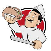 Funny doner cartoon man in a badge