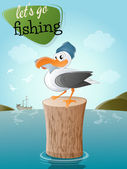Funny cartoon seagull with fish and hat