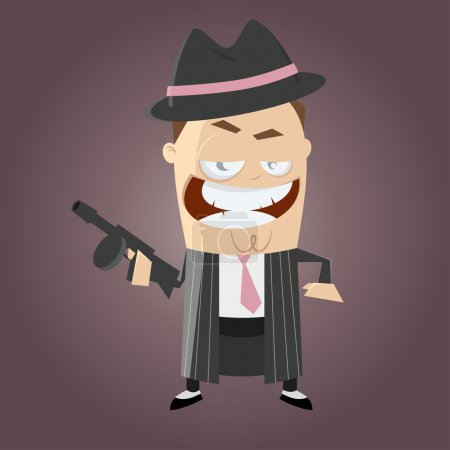 Illustration for Funny cartoon gangster - Royalty Free Image
