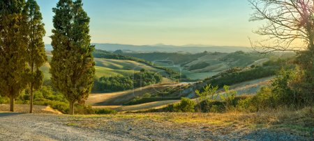 Photo for View over the rolling Hills of Crete Senesi - Tuscany - Royalty Free Image